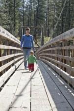 Walking across the suspension bridge