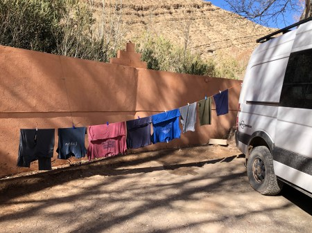 drying laundry in Morocco