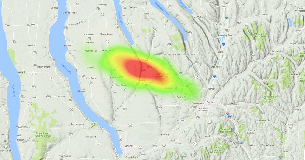 OLHZN-6 Predicted Landing Heat Map - 800g Balloon