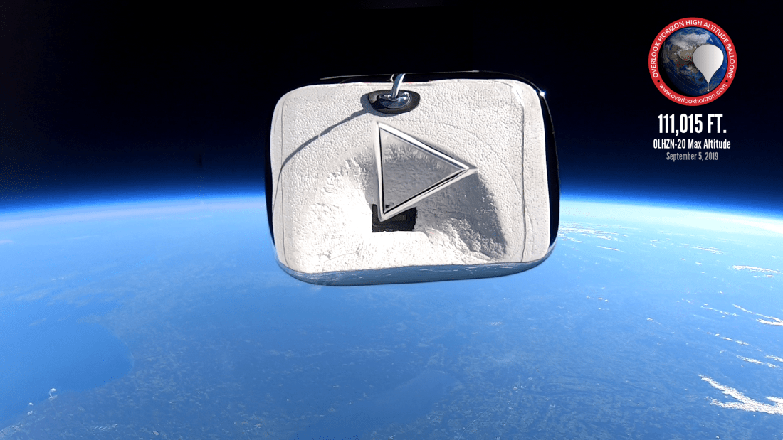 OLHZN-20 Just Dustin YouTube Play Button to Space