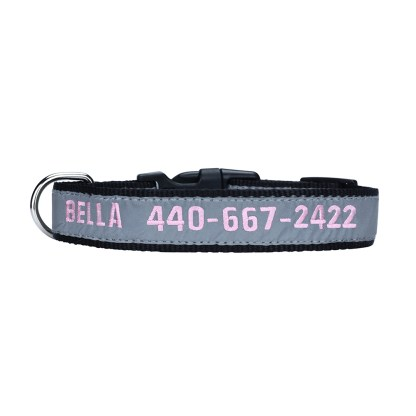 black personalized embroidered collar