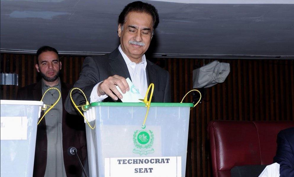 Sardar Ayaz Sadiq casted Senate Vote