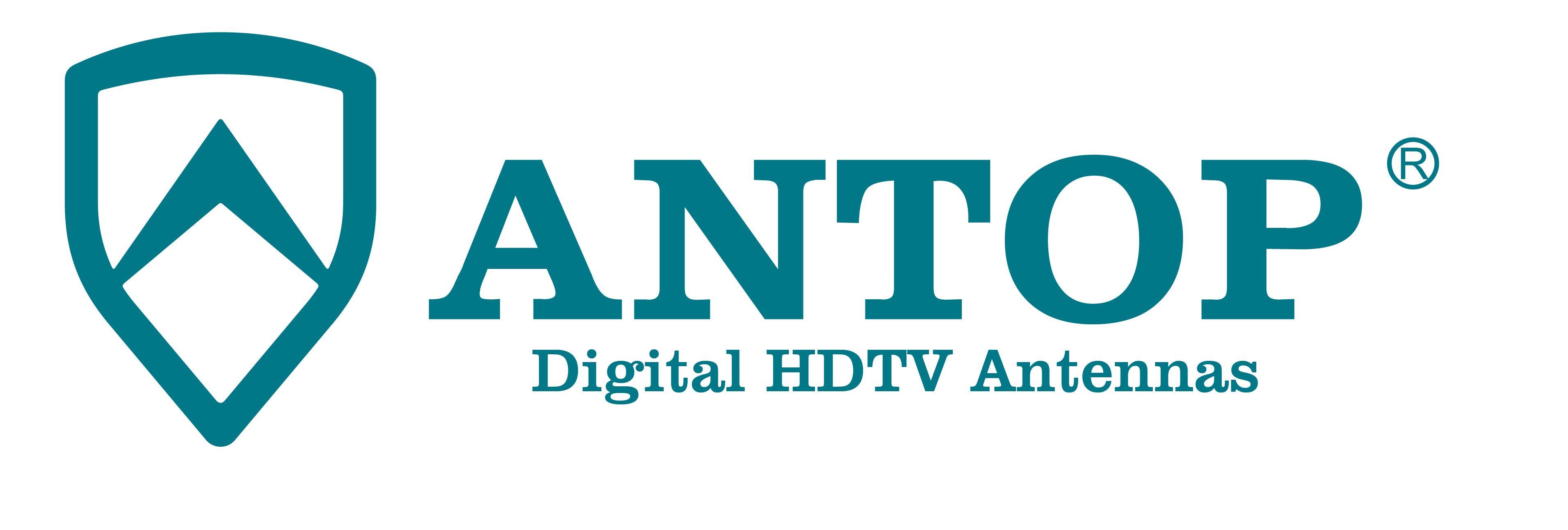 Antop HDTV Antenna vertical logo blue on white
