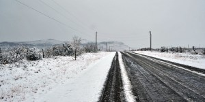 Snowy Road Fort Davis