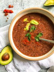 4-ingredient Black Bean Soup blended in a bowl