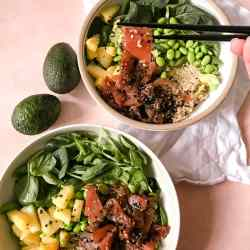 2 bowls with poke ingredients