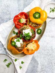 Air Fryer Stuffed Peppers on a platter