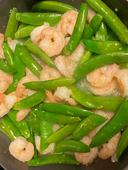 cooking shrimp and snap peas