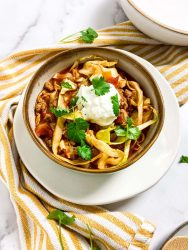 mexican cabbage soup in a bowl