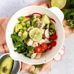 a bowl of baked ceviche