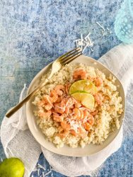 healthy coconut shrimp on a plate