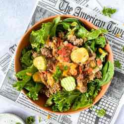 ground beef burger in a bowl