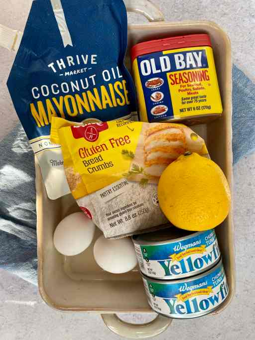Ingredients for tuna patties in a casserole dish