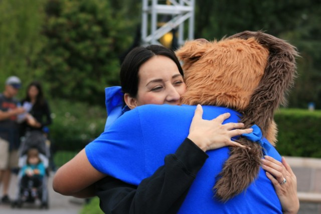 Beast and Belle hugging