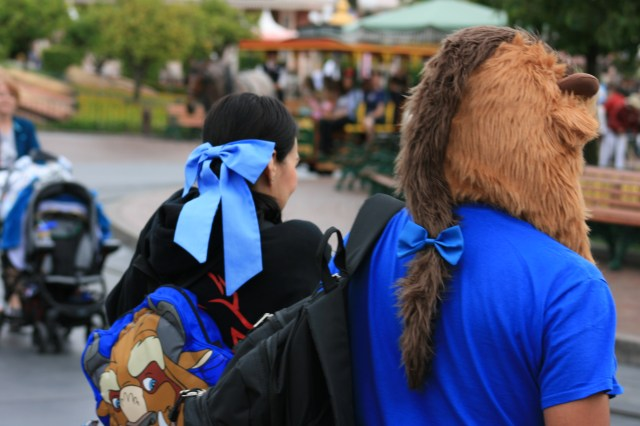 Belle and Beast walking away