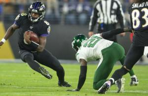 Lamar Jackson rushing New York Jets
