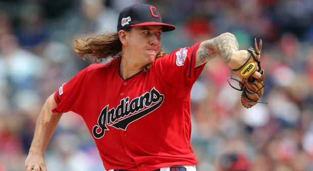 Pitcher Mike Clevinger throwing a pitch