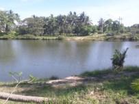 de rivier achter het resort