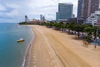 empty beach Pattaya July 2020
