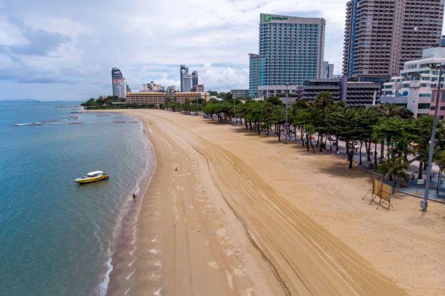 empty beach Pattaya July 2020