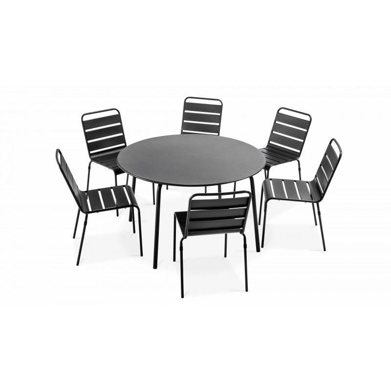 ensemble table ronde et 6 chaises palavas gris