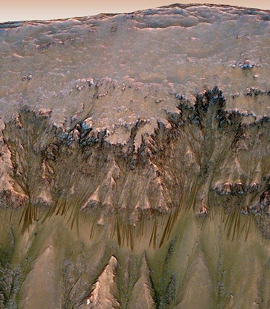 Fluxos de águas salgadas sazonalmente no Planeta Vermelho
