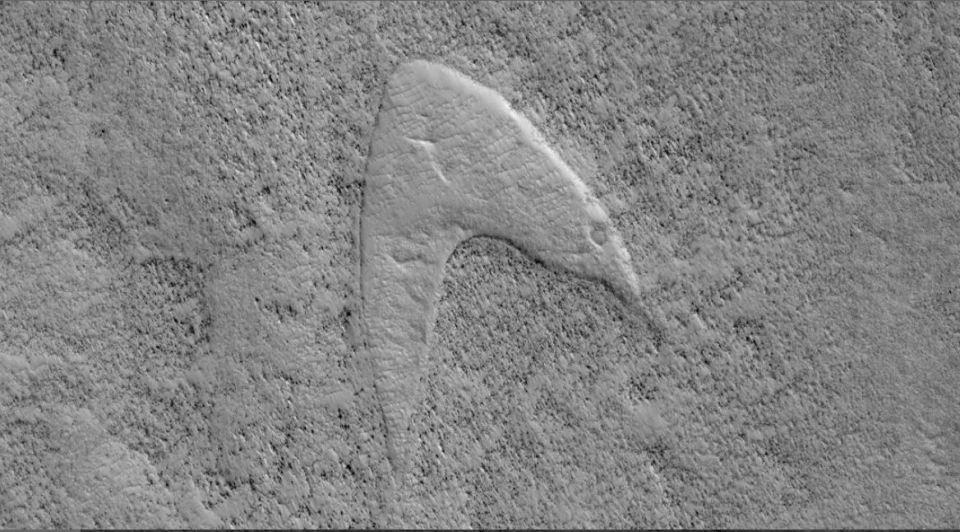 Star Trek em Marte: NASA avista o logotipo das naves estelares da famosa série