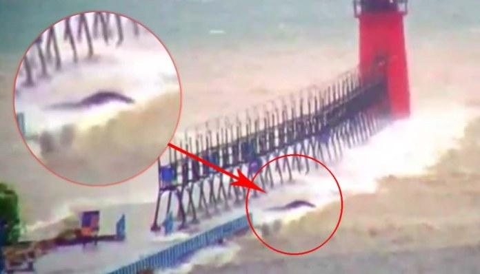 Criatura gigante é filmada no lago Michigan durante uma tempestade