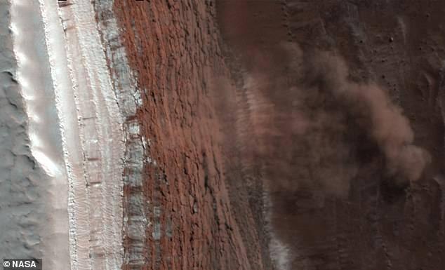 Avalanche de gelo em Marte é capturada por sonda da NASA