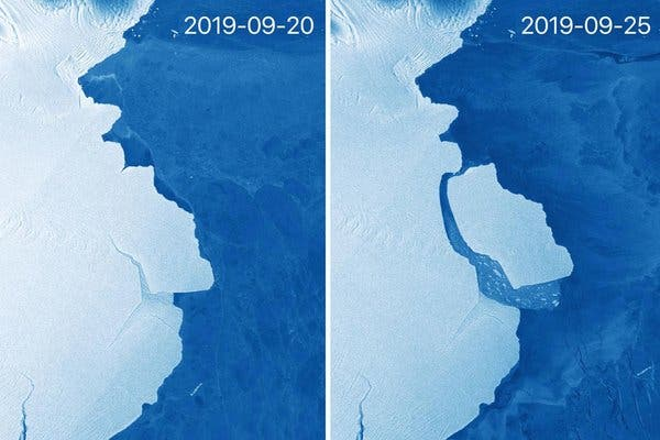 Iceberg gigantesco se separa da Antártica