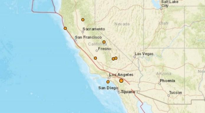 Nove terremotos atingem a Califórnia na véspera de Natal