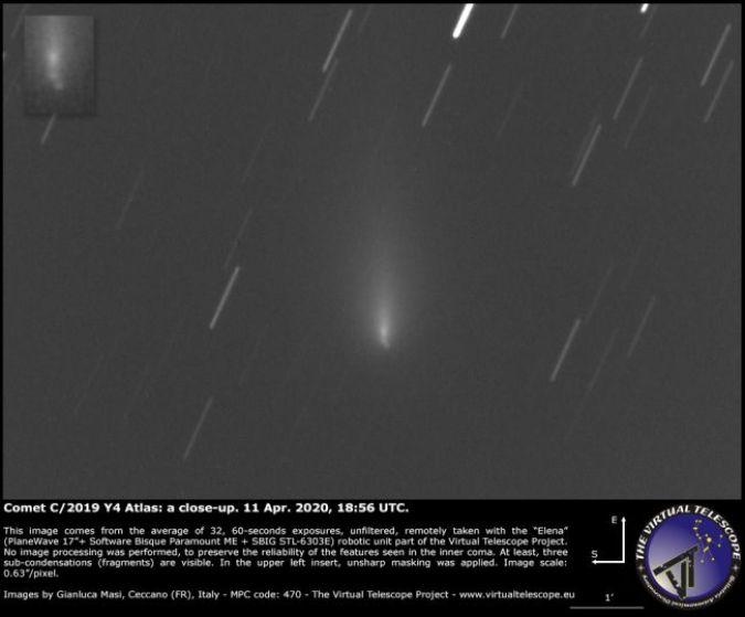 Cometa Atlas partiu seu núcleo, novas fotos confirmam