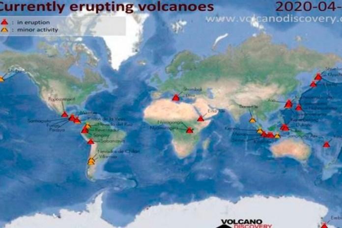 De repente, quinze vulcões em todo o mundo entraram em erupção!