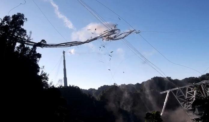 Vídeo mostra momento em que radiotelescópio de Arecibo desmorona