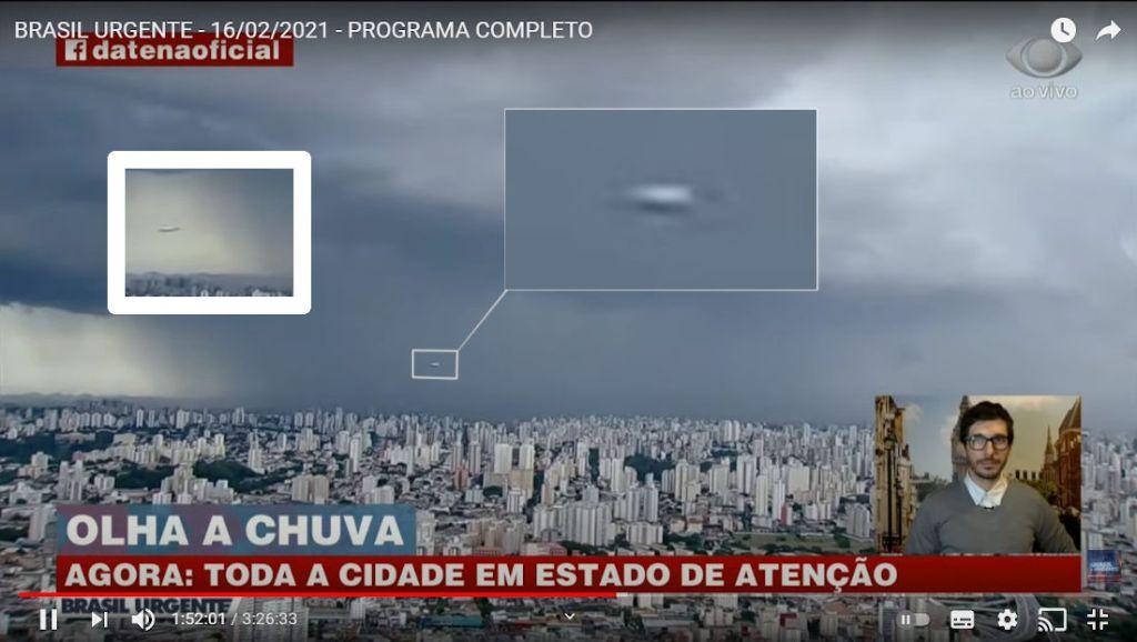 Brasil Urgente transmite ao vivo passagem de OVNI Tic Tac sobre São Paulo