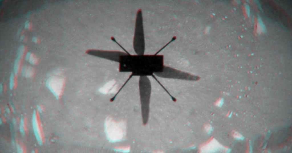Helicóptero de terráqueos faz história em Marte