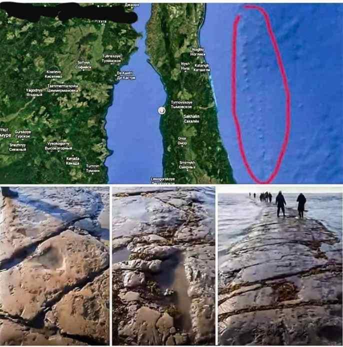 """Uma misteriosa """"estrada"""" de pedra gigante surge no Oceano Pacífico"""