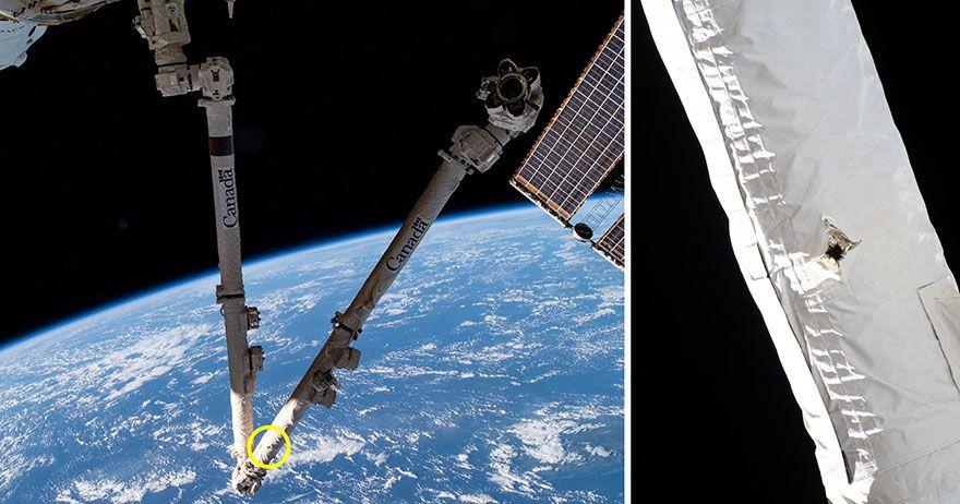 Lixo espacial atinge braço robótico da Estação Espacial Internacional
