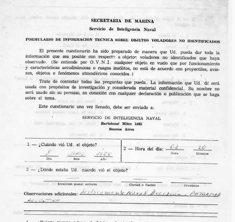 Formularios OVNI de la Armada Argentina, 1965