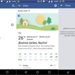 Facebook ahora también muestra el clima