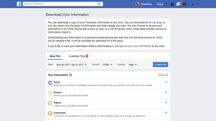 Descarga datos Facebook