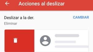 Acciones al deslizar Gmail