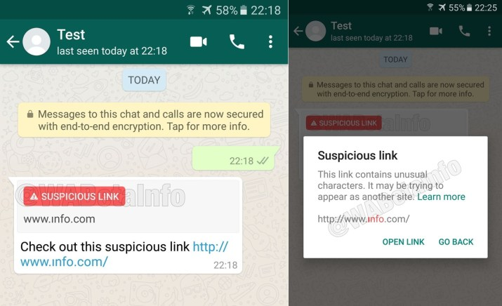 Link sospechoso WhatsApp
