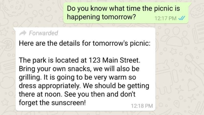 Mensaje reenviado WhatsApp