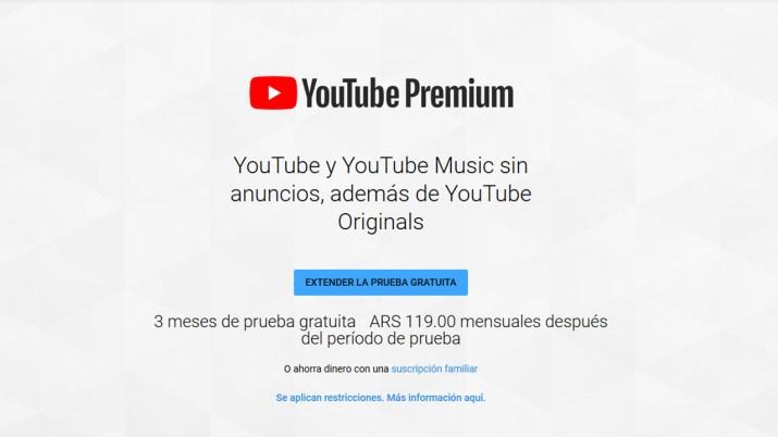YouTube Premium Argentina
