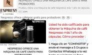 Vuelve el engaño de la Nespresso gratis a las cadenas de WhatsApp
