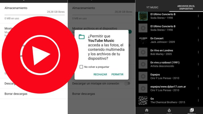 YouTube Music musica almacenada