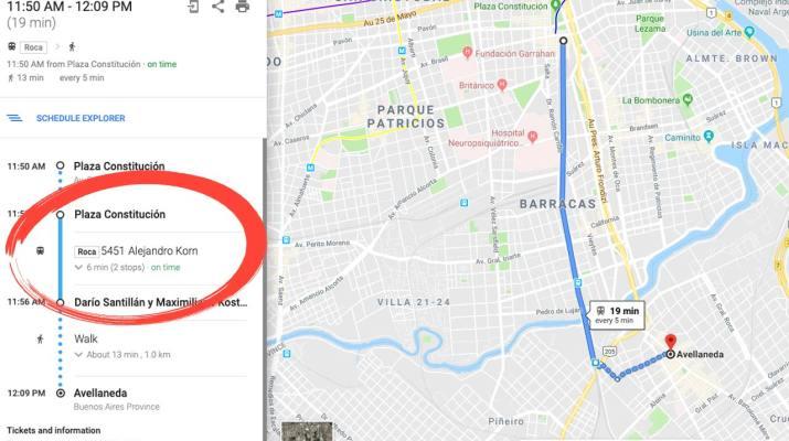 Tren tiempo real Google Maps