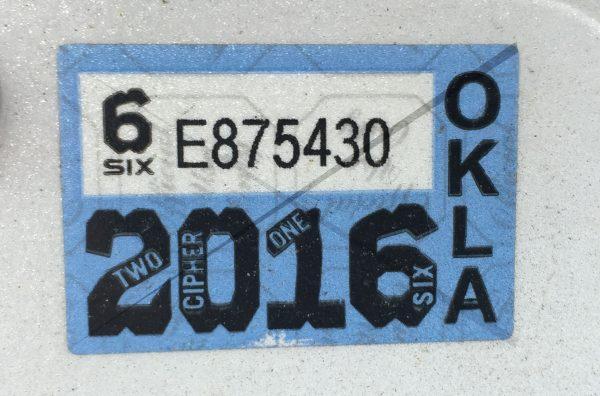 Oklahoma Sticker Plate License 2016