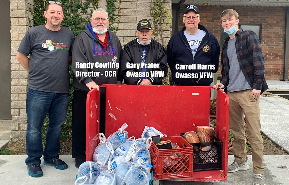 Owasso VFW Post 7180 Donates Hams/Turkeys to Owasso Community Resources